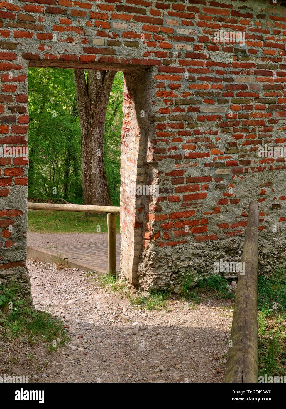 City wall, wall, brick wall, brick, path, gravel path, spring morning, old town, monument, place of interest, historical building, historical old town, listed, monument protection Stock Photo
