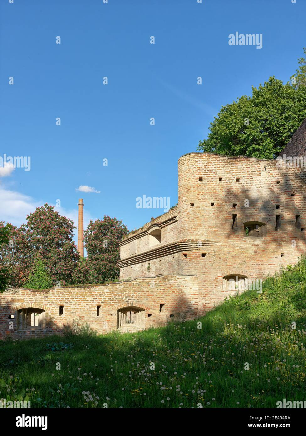 Bastion, citations, defense system, city wall, clinker wall, brick wall, city moat, fortification, historical old town, historical, old town, monument, monument site, listed, place of interest Stock Photo