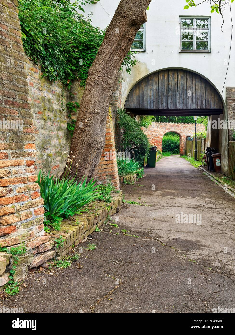 City wall, brick wall, fortification, bastion, historical old town, historical monument, monument site, listed, monument protection, place of interest, historical place of interest Stock Photo