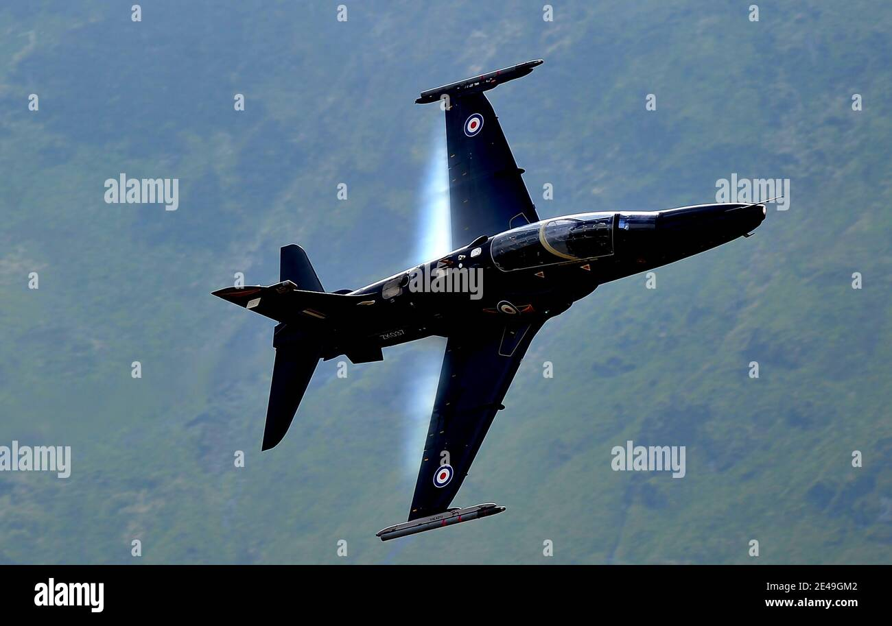 RAF Hawk in The Mach Loop, Wales Stock Photo