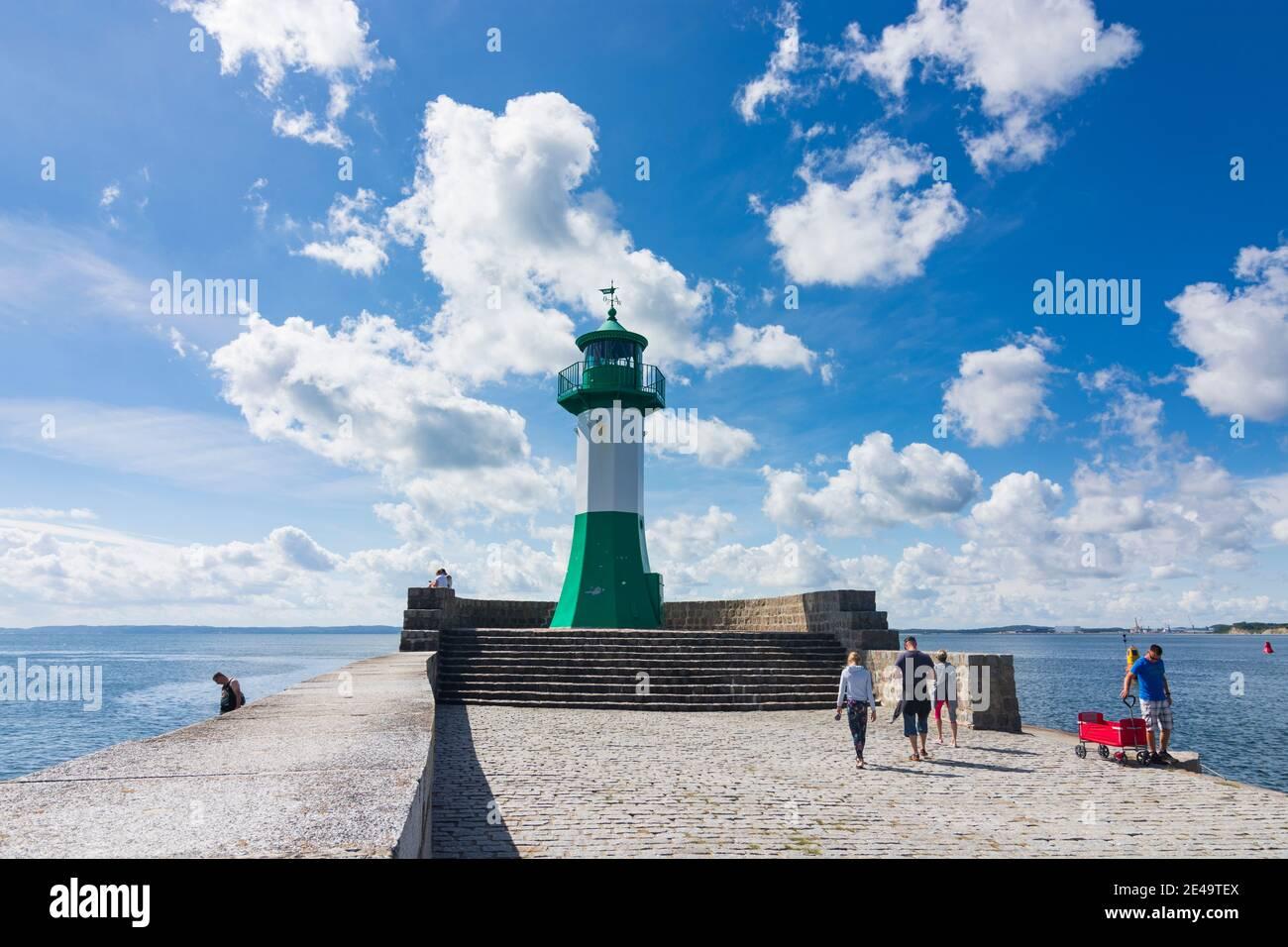Sassnitz, light house East Mole, port, Baltic Sea, Ostsee (Baltic Sea), Rügen Island, Mecklenburg-Vorpommern / Mecklenburg-Western Pomerania, Germany Stock Photo