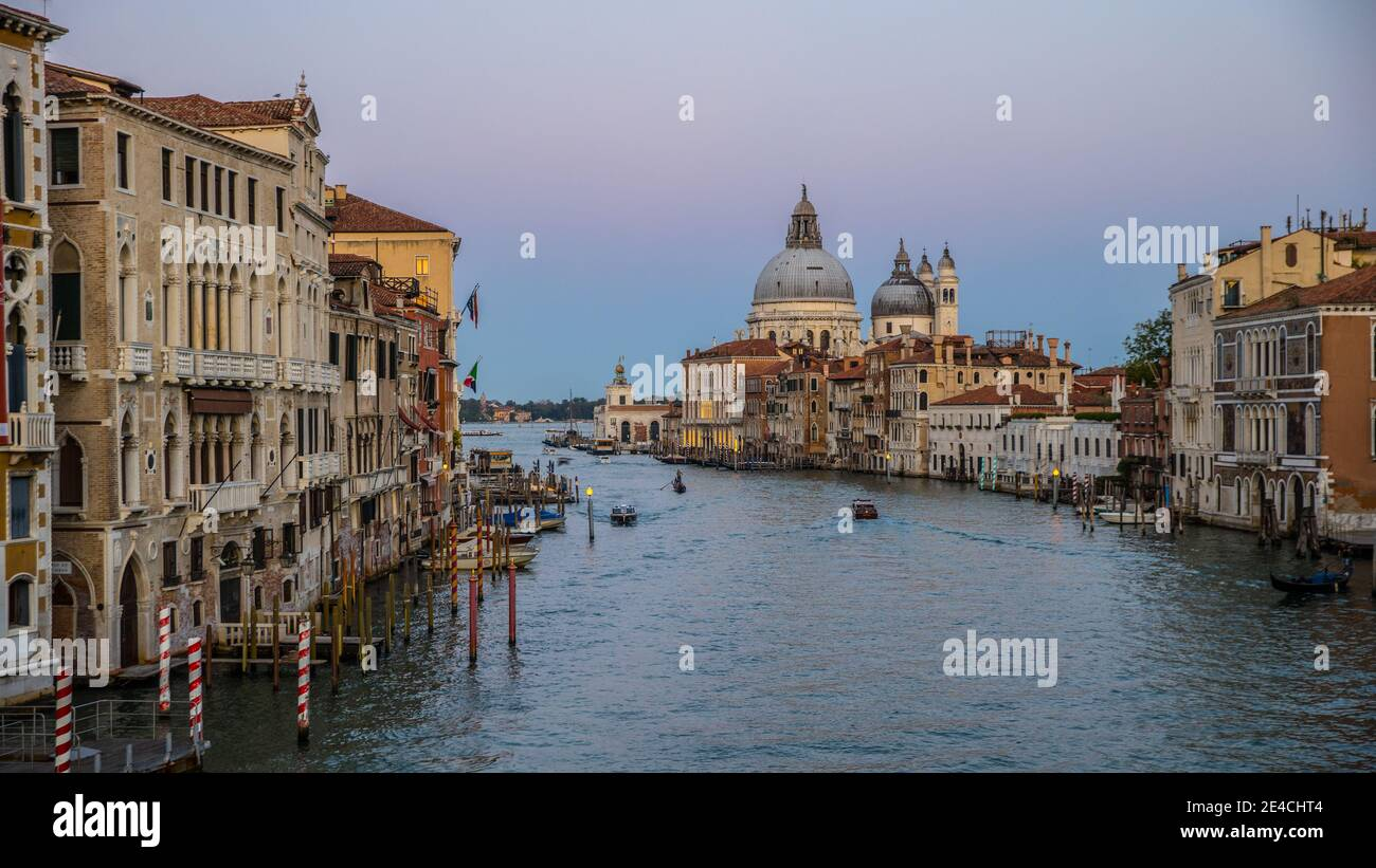 Venice during Corona times without tourists, view over the Grand Canal to Santa Maria della Salute Stock Photo
