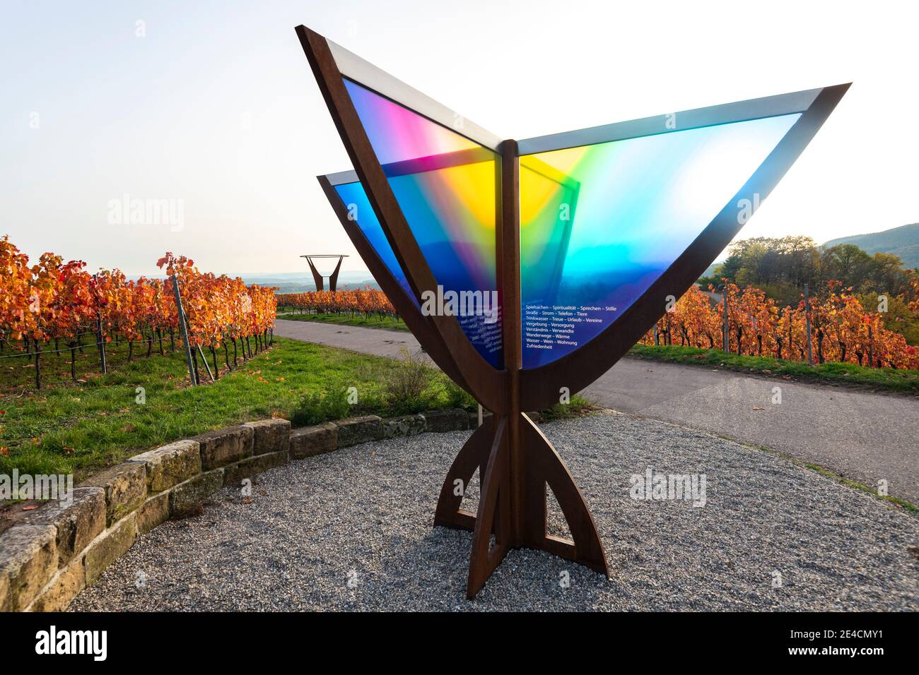 Europe, Germany, Baden-Wuerttemberg, Stromberg Heuchelberg Nature Park, Hohenhaslach, vineyard, autumn colors, far-sighted path, chalice of gratitude and joy Stock Photo