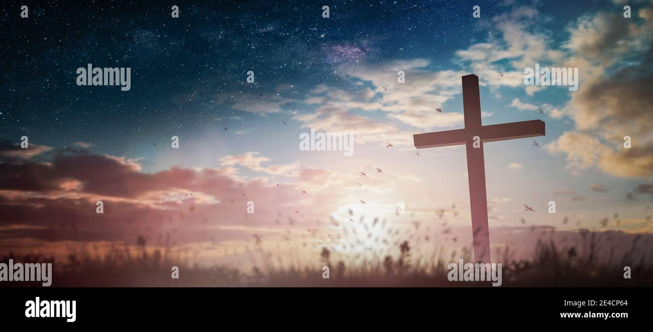 Jesus christ crucifix cross on heaven sunrise concept christmas catholic religion, forgiving christian worship god, happy easter day, praying praise . Stock Photo
