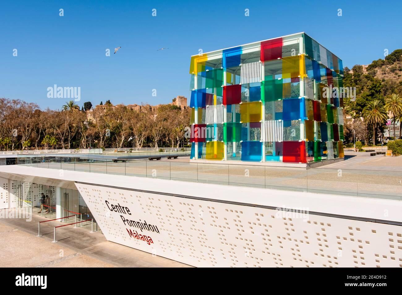 Centre Pompidou Museum Art Centre, Muelle Uno. Seaside promenade at port, Malaga city. Costa del Sol, Andalusia. Southern Spain Europe Stock Photo