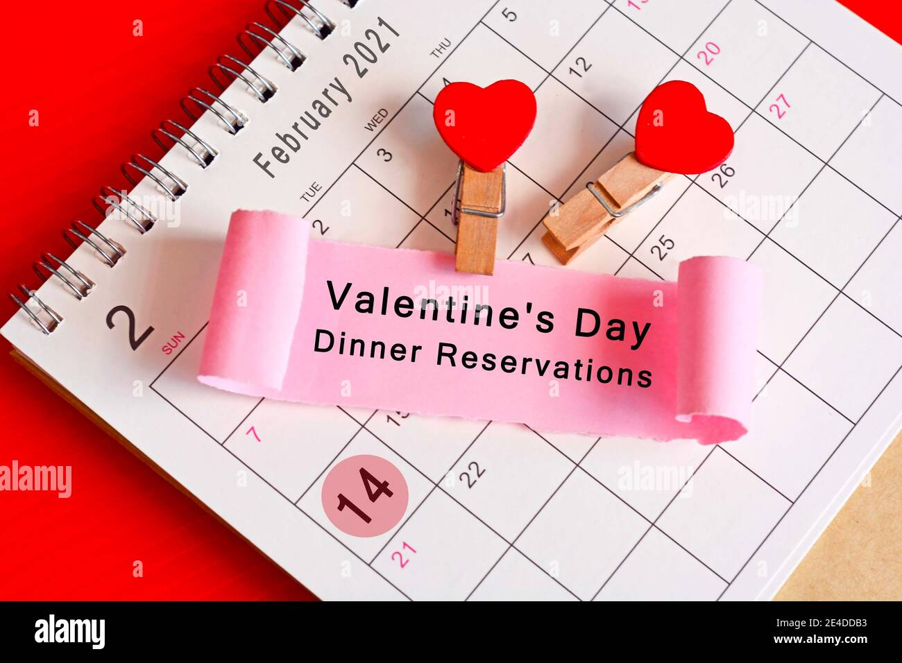 Torn Paper On February Calendar 2021 With Phase Valentine S Day Dinner Reservations Valentine S Day Concept Stock Photo Alamy