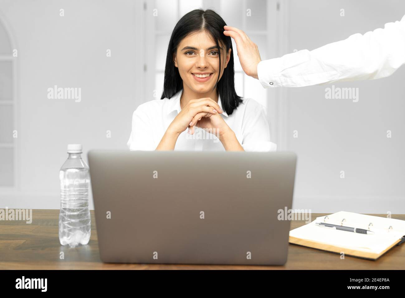 Head shot pleasant happy young woman freelancer working on computer at home. Attractive businesswoman studying online, using laptop software, web surf Stock Photo