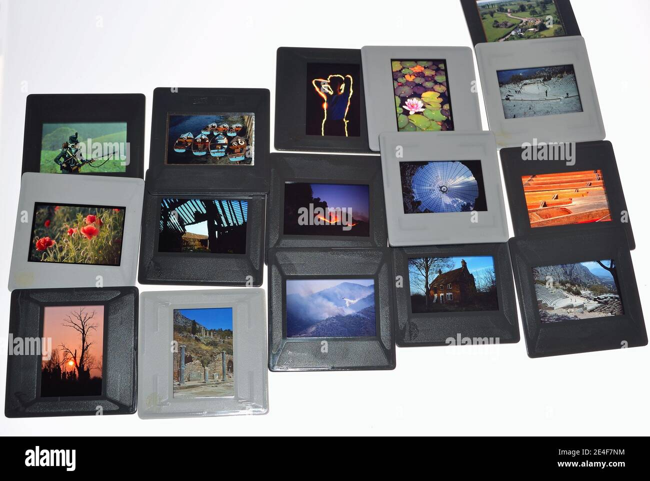 15 Slides in Mounts 35mm Various Images on transparencies Stock Photo