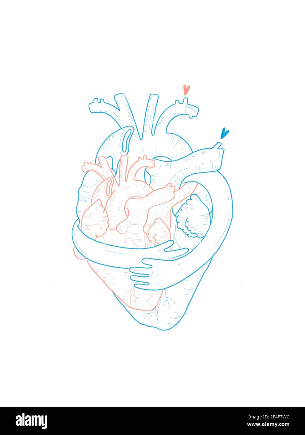 Hand draw Illustration of two hearts hugging each other Stock Photo