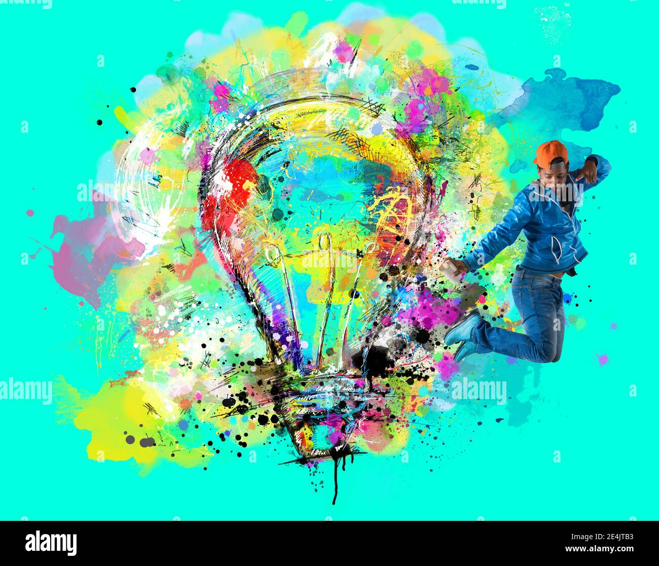 Man draws with spray a big stylized light bulb on cyan background. Concept of innovation and creativity Stock Photo