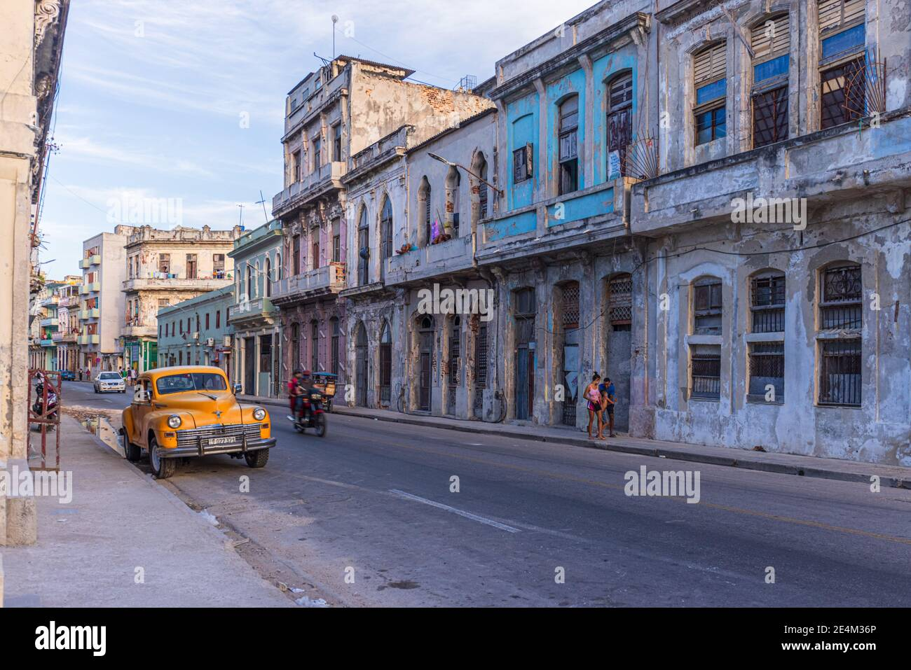 Havana, Cuba - January 11, 2021: Empty streets in old Havana, Cuba. Daily life in Havana Vieja has changed due to the global Corona pandemic. Stock Photo