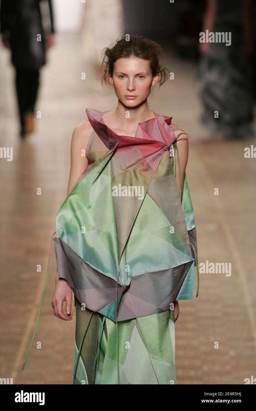 A model displays a creation by Japanese designer Dai Fujiwara for Issey Miyake during the Fall-Winter 2008-2009 Ready-to-Wear collection show in Paris, France on February 28, 2008. Photo by Java/ABACAPRESS.COM Stock Photo