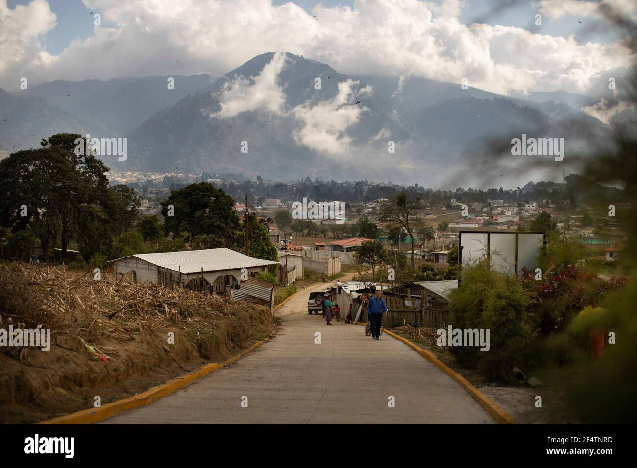 Village scenery with mountains in Cantel, Guatemala, Central America. Stock Photo
