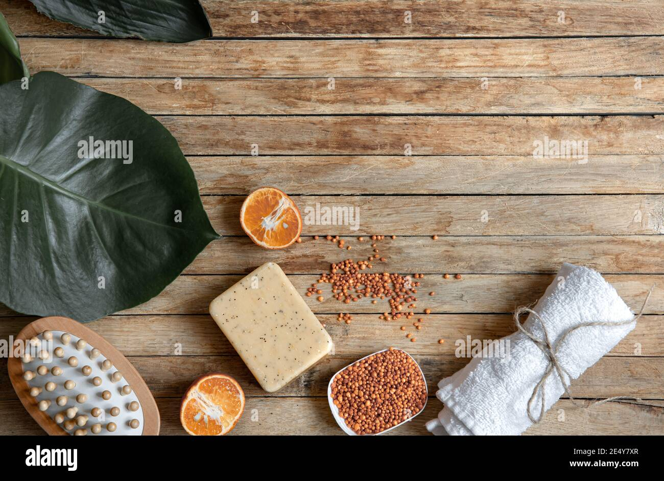 Still life with organic and natural bath accessories top view. Organic cosmetics and beauty concept. Stock Photo