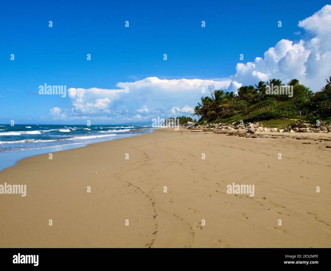 A beach near Sosua, on the north coast of the Dominican Republic. Stock Photo