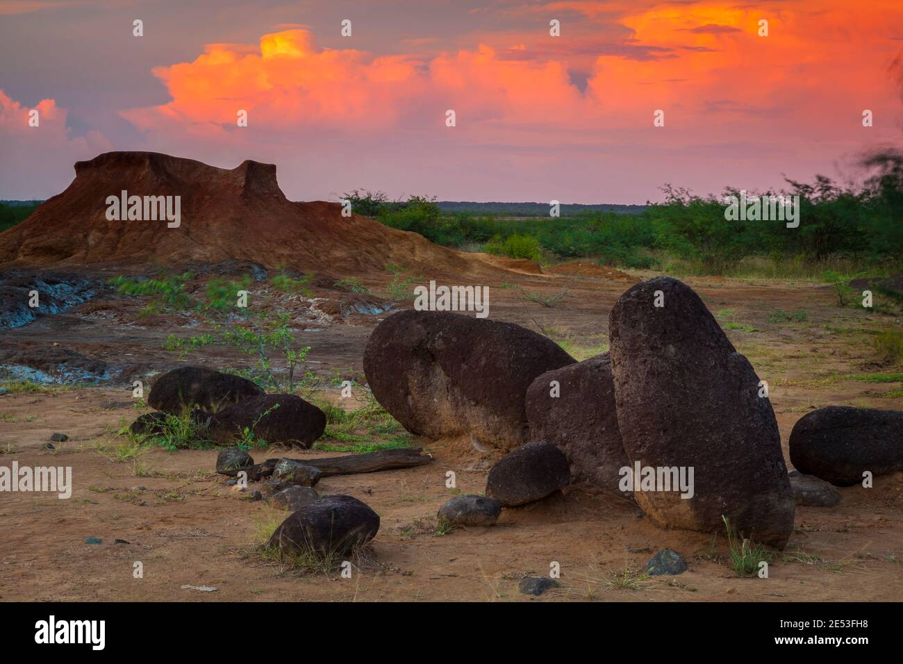 Colorful evening in the desert of Sarigua national park, Herrera province, Republic of Panama. Stock Photo