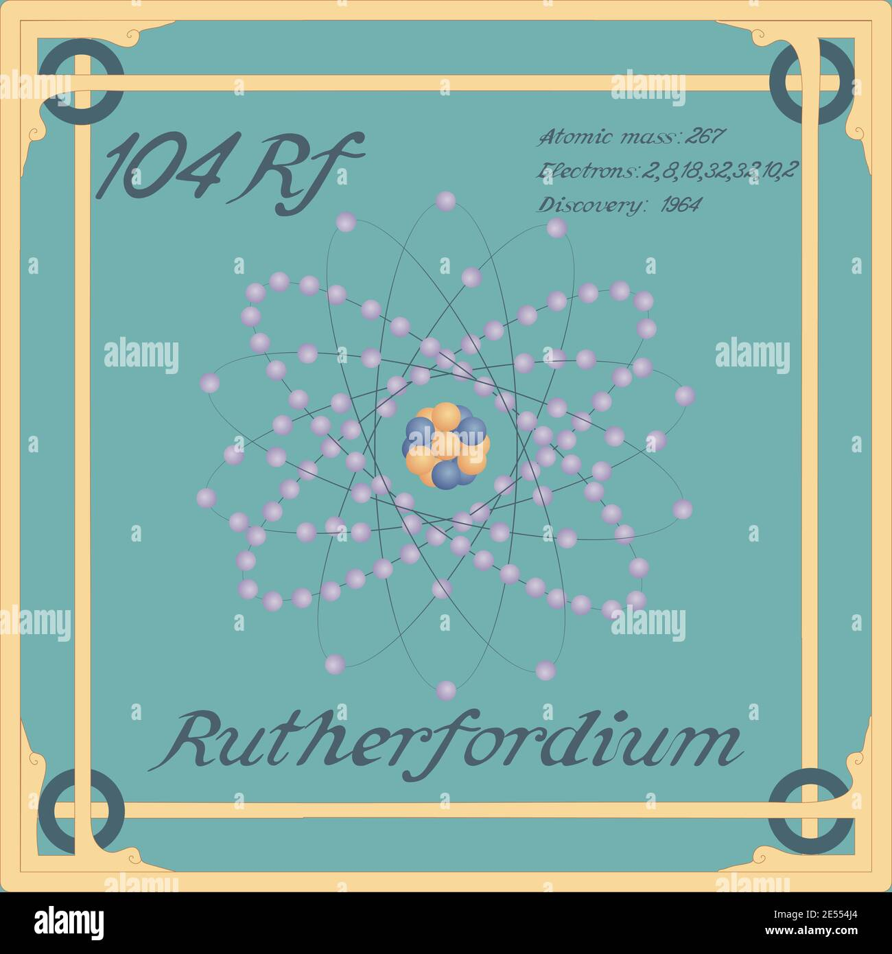Periodic table element. Rutherfordium colorful icon. Vector. Stock Vector
