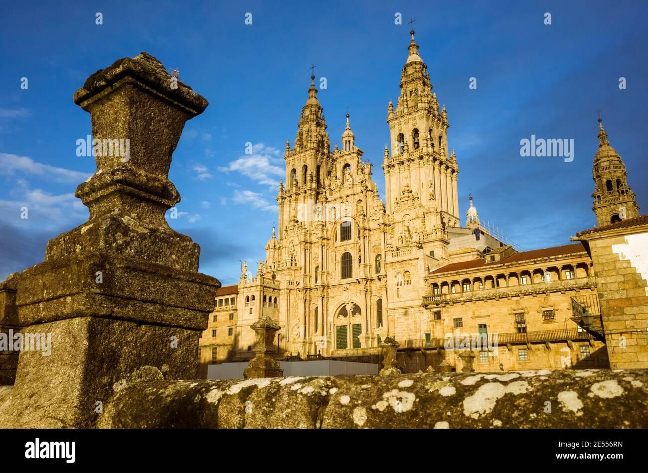 Santiago de Compostela, A Coruña province, Galicia, Spain - February 12th, 2020 : Baroque facade of the cathedral in the Obradoiro square. The Cathedr Stock Photo