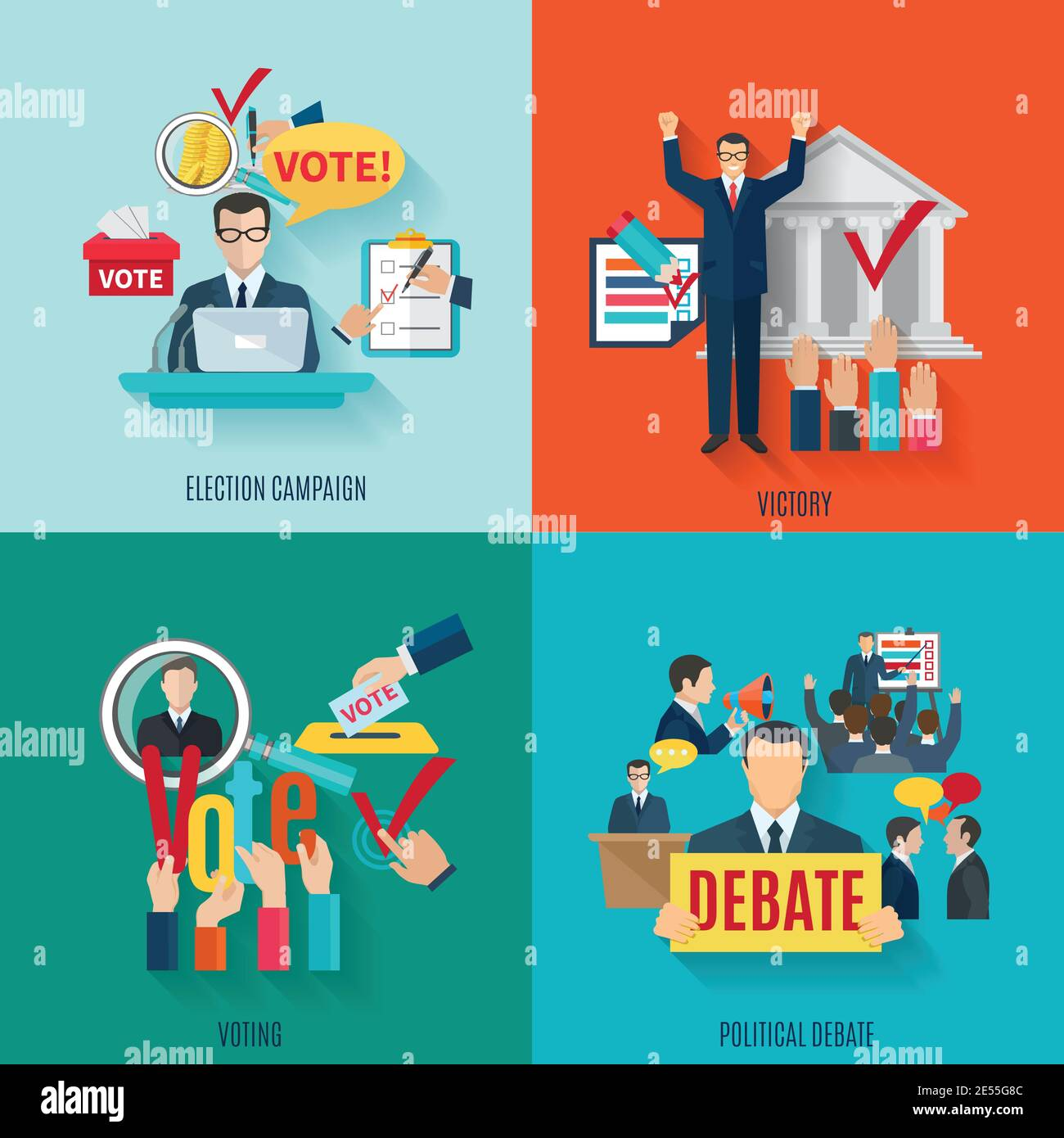 Election design concept set with voting and political debate flat icons isolated vector illustration Stock Vector