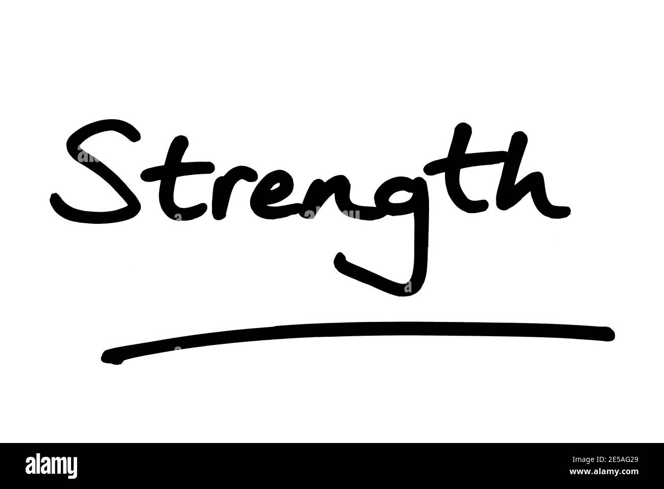 The word Strength, handwritten on a white background. Stock Photo