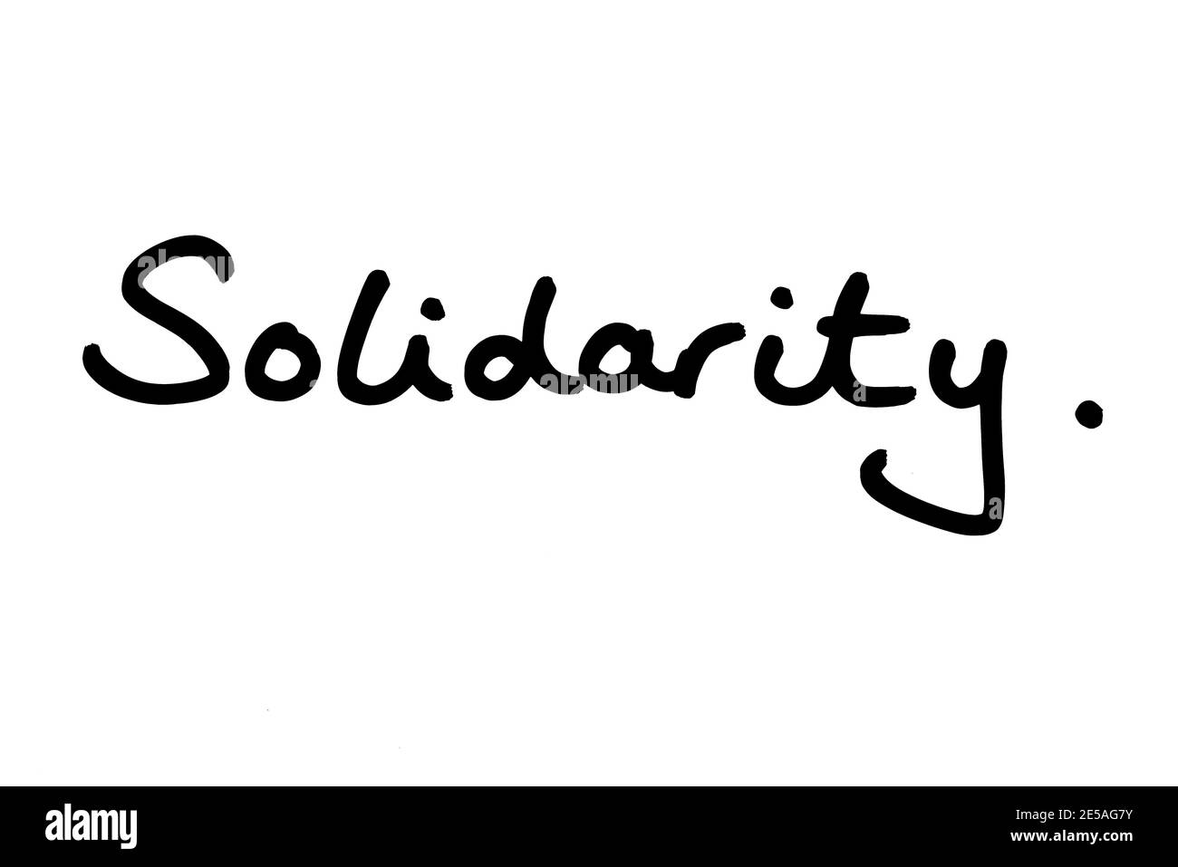 The word Solidarity, handwritten on a white background. Stock Photo