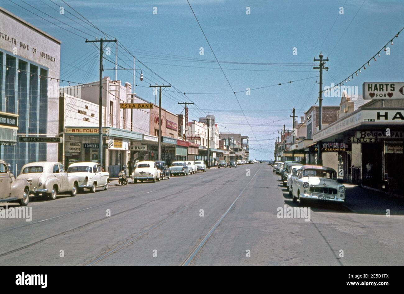 Shops And Businesses Along Jetty Road Glenelg Adelaide South Australia Australia In 1961 The Street Is A Major Retail Precinct And Is Almost 1 Kilometre Long This View Is Looking West Towards