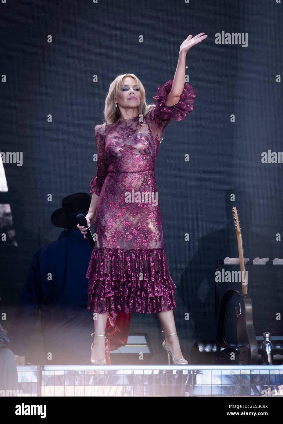 Kylie Minogue performs live on the Pyramid Stage at Worthy Farm, Pilton, Somerset. Stock Photo