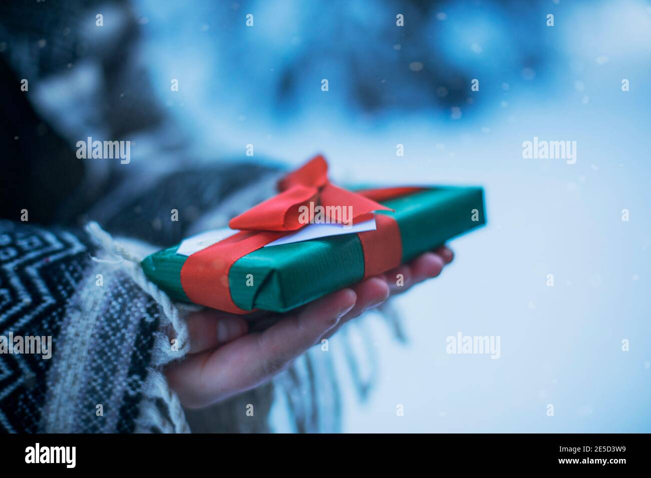 Close-Up of a woman holding a wrapped Christmas gift Stock Photo