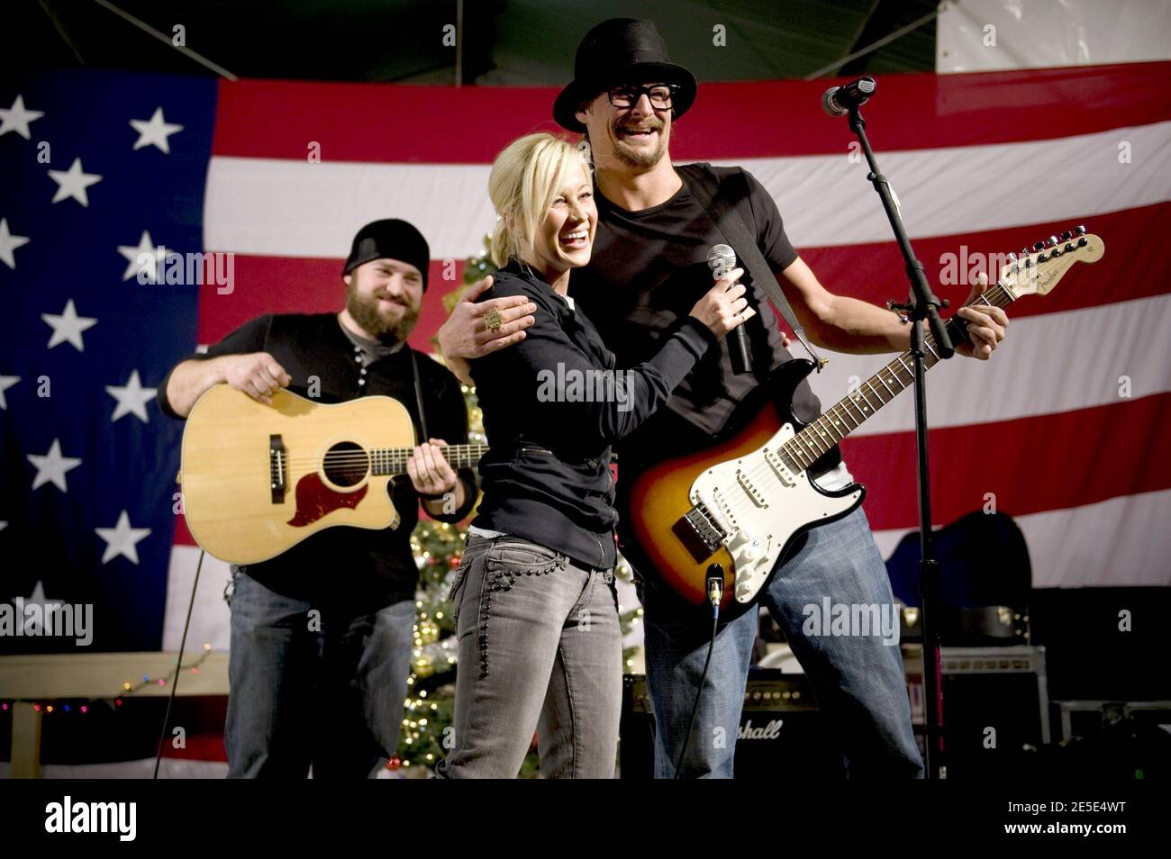 (L-R) Zack Brown, American Idol contestan Kellie Pickler and Kid Rock entertain the troops at Bagram Air Base in Kandahar, Afghanistan on December 17, 2008, during the 2008 USO Holiday Tour. Photo by Chad J. McNeeley/DOD/ABACAPRESS.COM Stock Photo