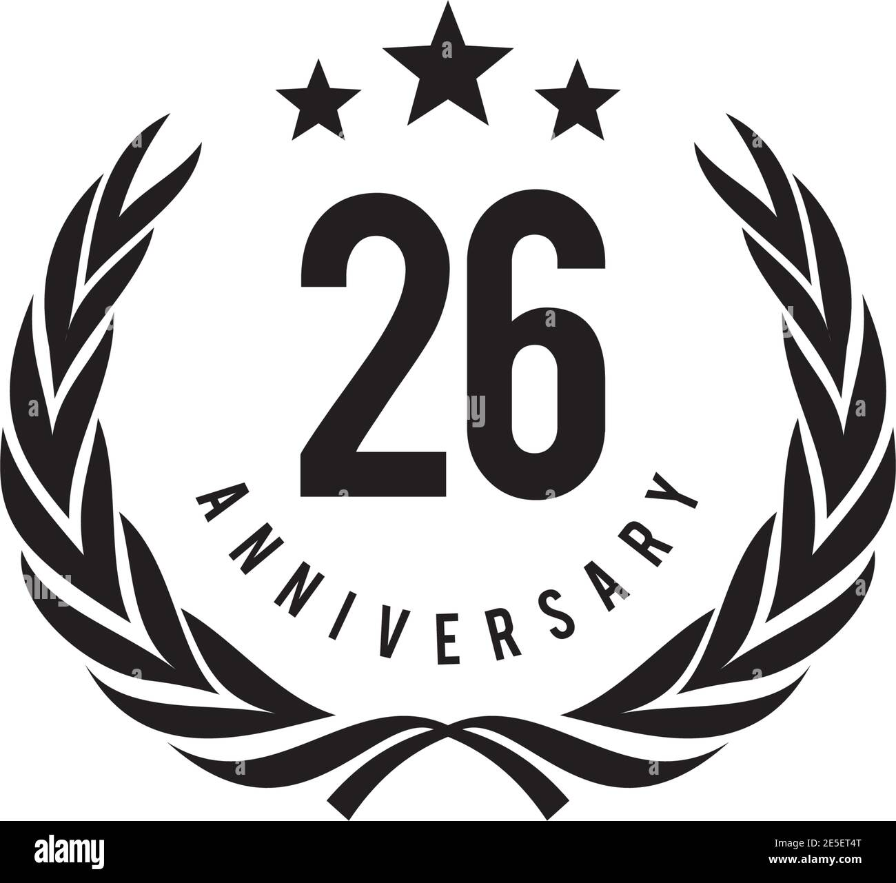 26th year anniversary emblem logo design vector template Stock Vector