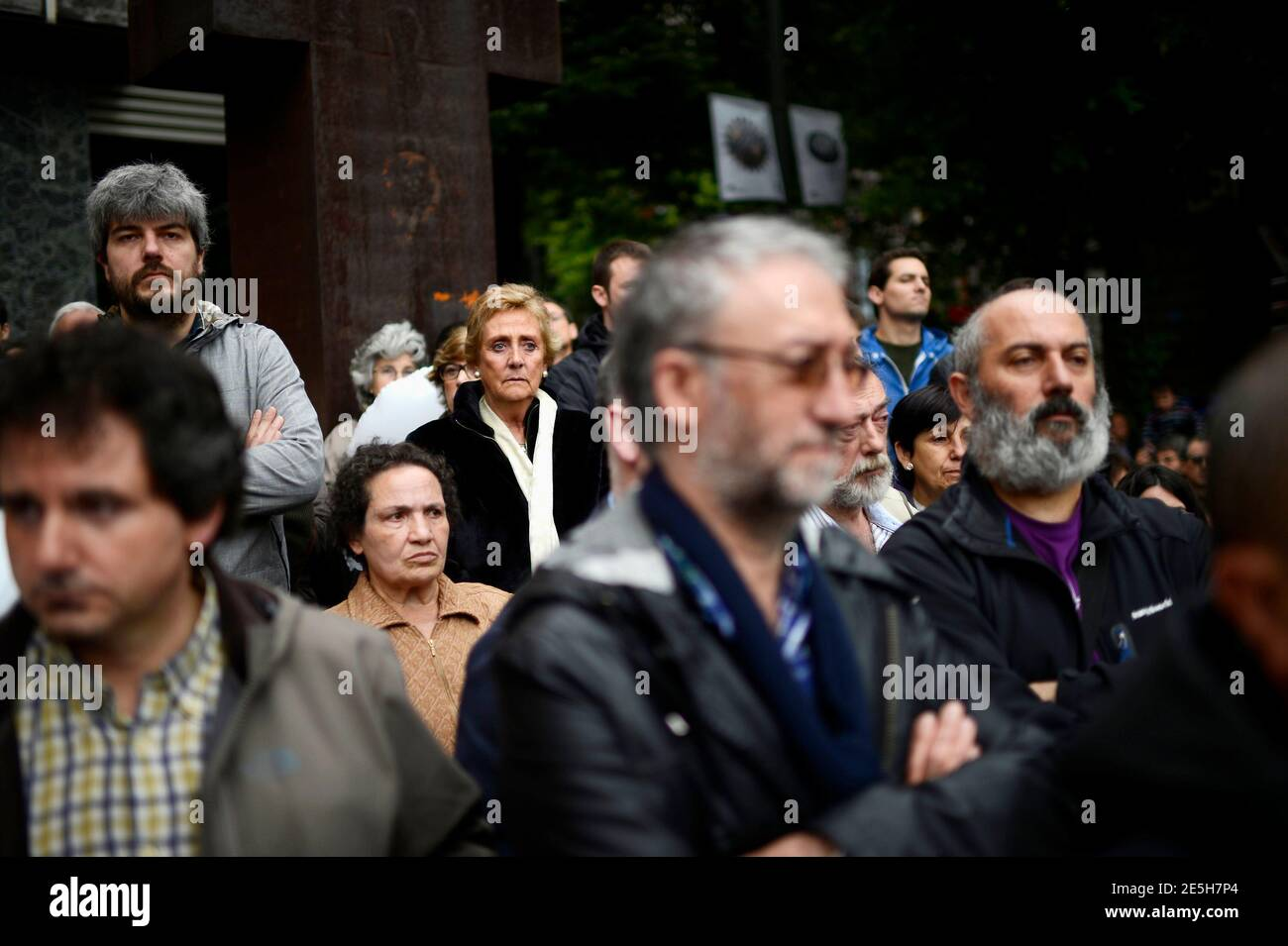 Supporters listen to speeches during Basque peace association Gesto Por La Paz (A Gesture For Peace) final meeting in Bilbao June 1, 2013. The peace group decided to finish after 28 years of existence, following armed Basque separatists ETA's 2011 permanent ceasefire and cessation of armed activity.  REUTERS/Vincent West (SPAIN - Tags: POLITICS CIVIL UNREST) Stock Photo