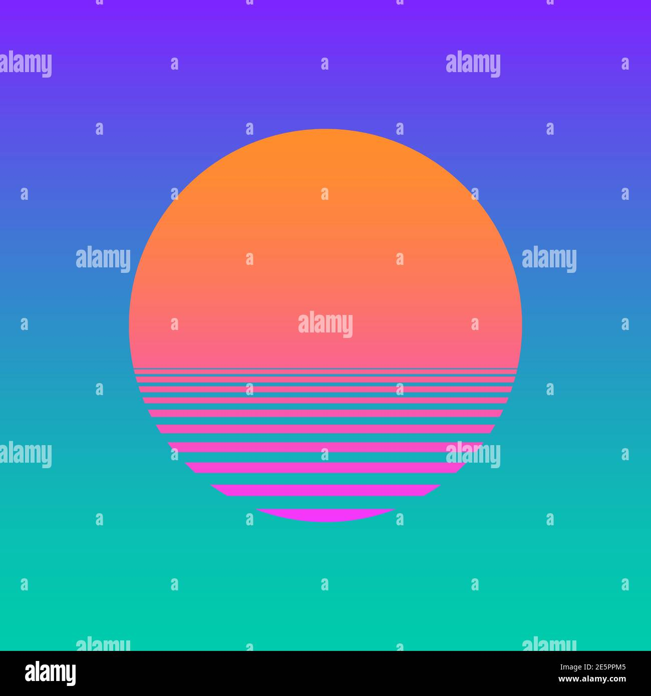 Isolated sunset gradient on turquoise background. Vector illustration of sun in retro 80s and 90s style. Stock Vector