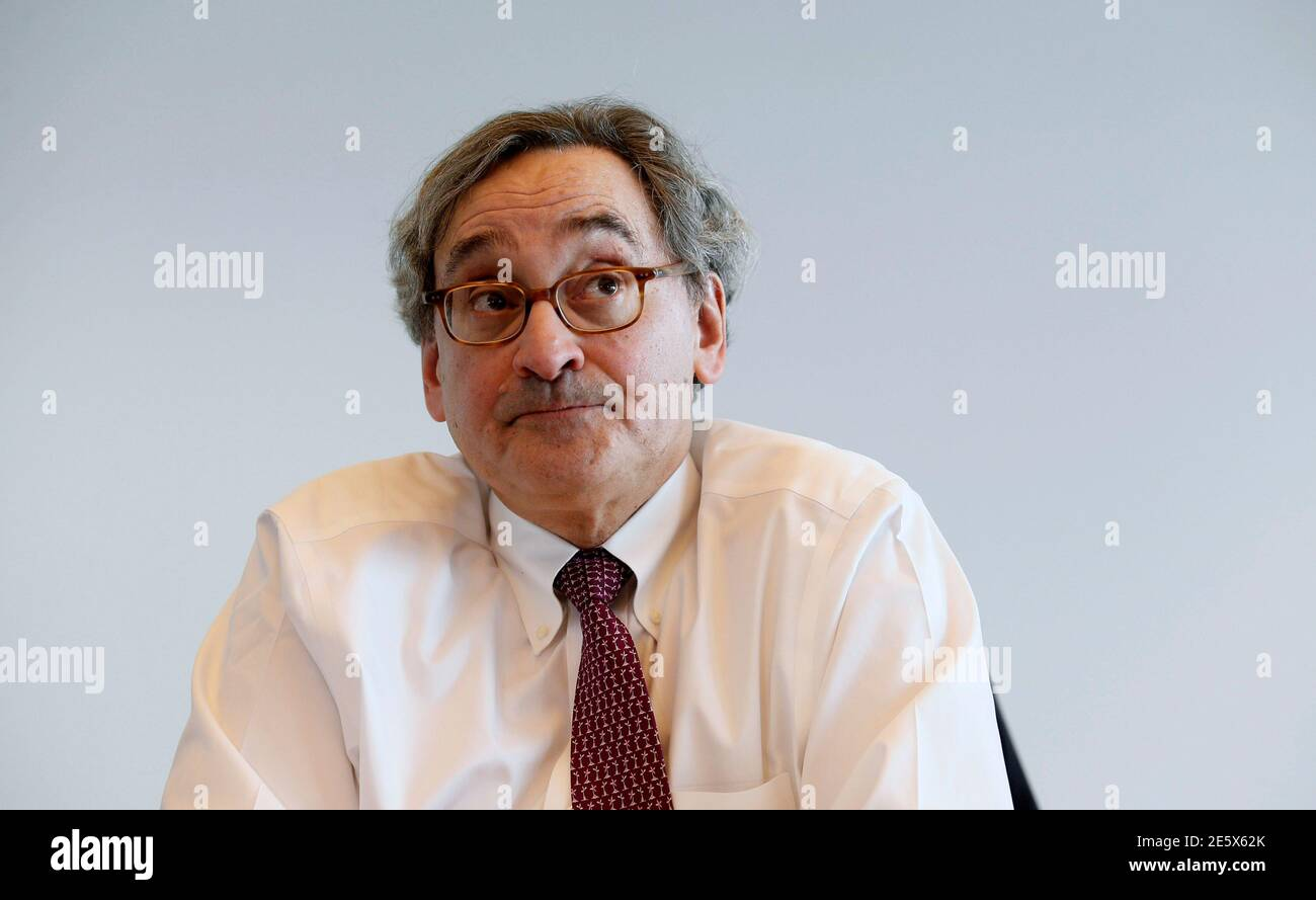 Michael Sabia, president and chief executive officer of Caisse de depot et placement du Quebec (CDP), speaks following a news conference for the release of their 2013 financial results in Montreal, February 26, 2014. REUTERS/Christinne Muschi (CANADA - Tags: BUSINESS) Stock Photo
