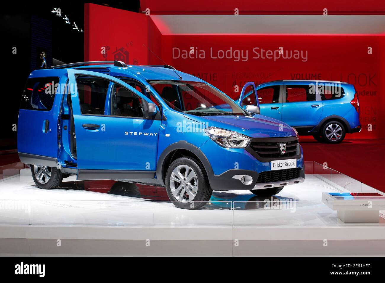 https www alamy com the dacia dokker stepway is displayed on media day at the paris mondial de lautomobile october 2 2014 the paris auto show opens its doors to the public from october 4 to october 19 reutersbenoit tessier france tags transport business image399562112 html