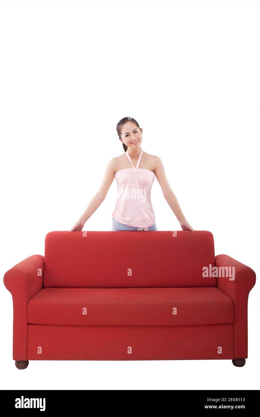 Oriental fashion female and sofa high quality photo Stock Photo