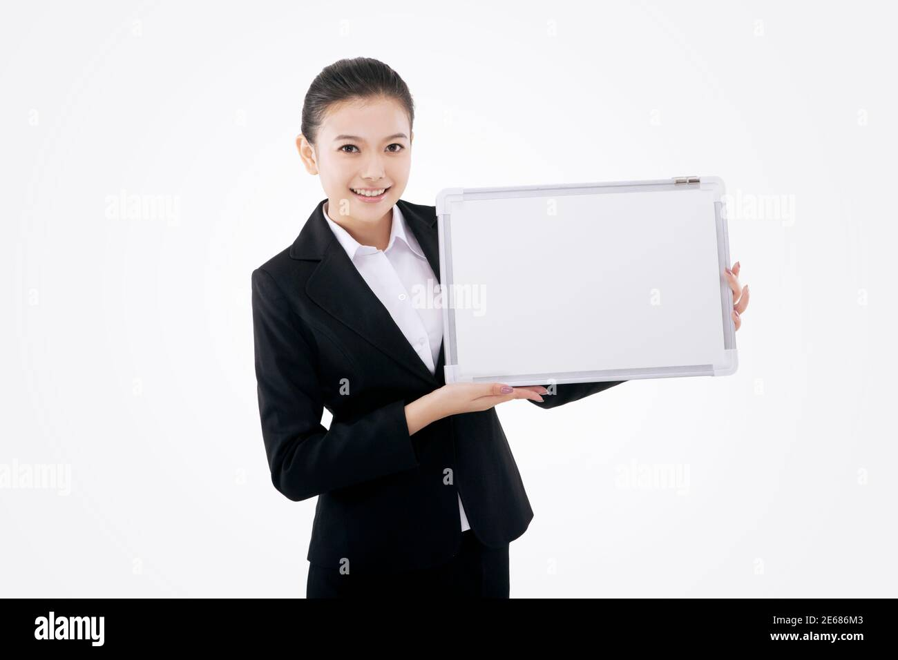 Business lady with white board high quality photo Stock Photo