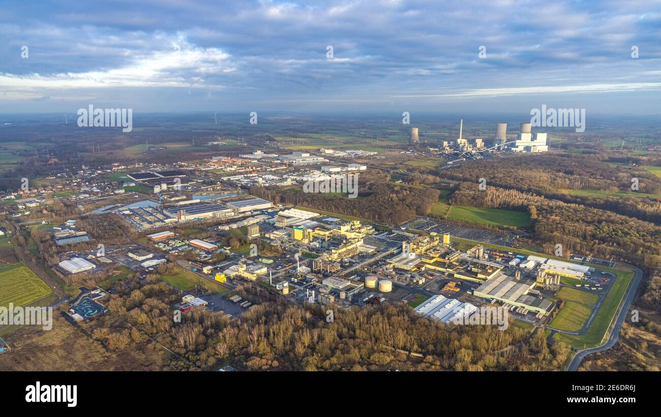 Aerial photo DuPont and DuBay Polymer GmbH and Goldbeck Betonelemente and RWE Kraftwerk Westfalen in the district of Uentrop in Hamm, Ruhr area, North Stock Photo