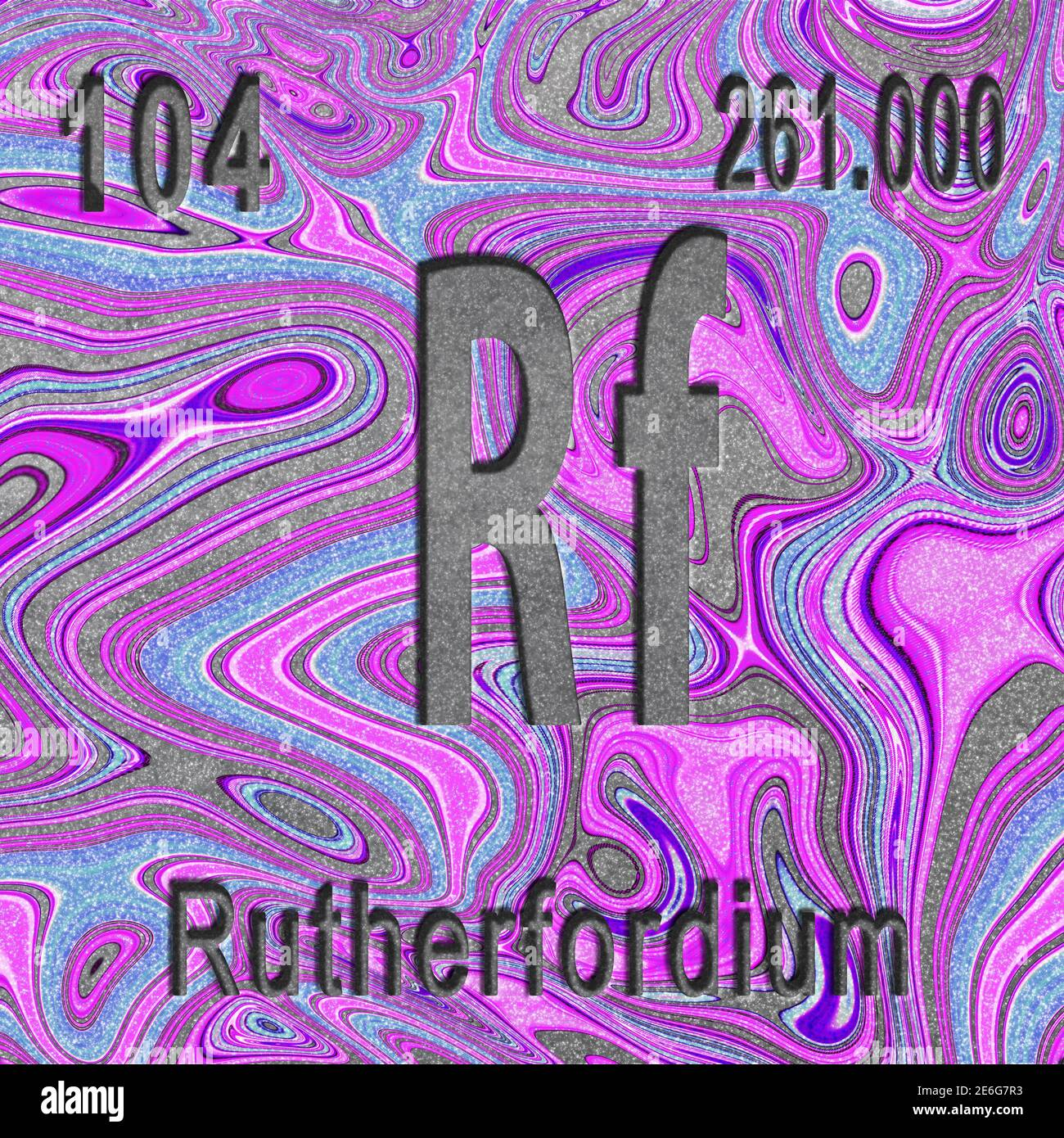 Rutherfordium chemical element, Sign with atomic number and atomic weight, purple background, Periodic Table Element Stock Photo