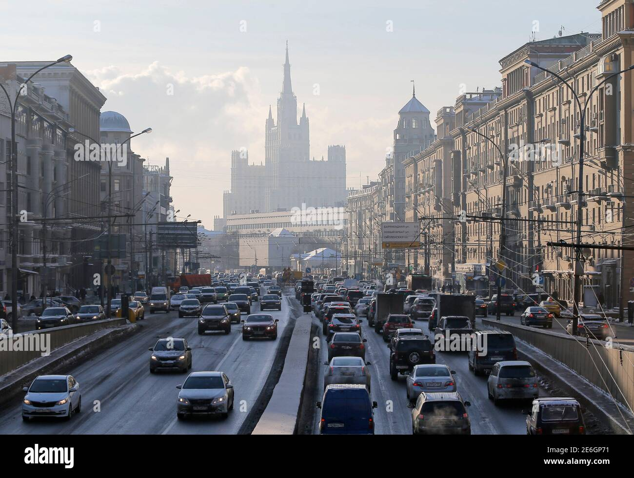 Cars drive along the Garden Ring road, with a residential building at Kudrinskaya Square seen on the background, in Moscow, Russia, January 11, 2016. REUTERS/Maxim Shemetov Stock Photo