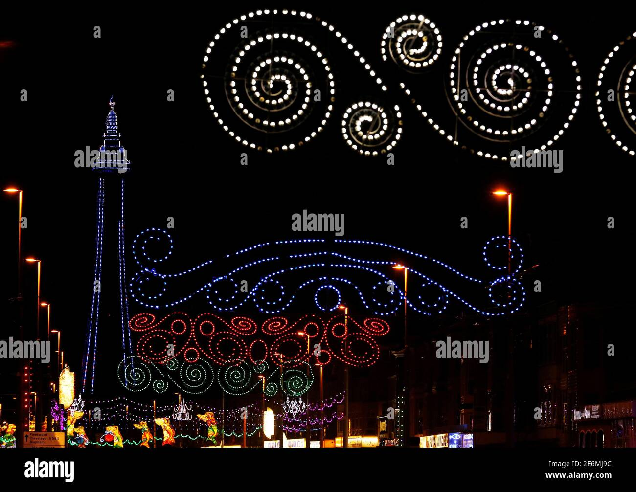 The Blackpool tower and the promenade are lit up during the illuminations in Blackpool, northern England October 13, 2016. REUTERS/Phil Noble Stock Photo