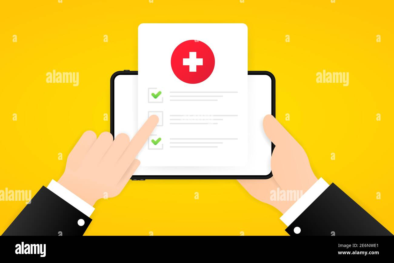 Medical survey online illustration. Hand holding tablet with medical form list with results data and approved check mark. Clinical checklist document. Stock Vector