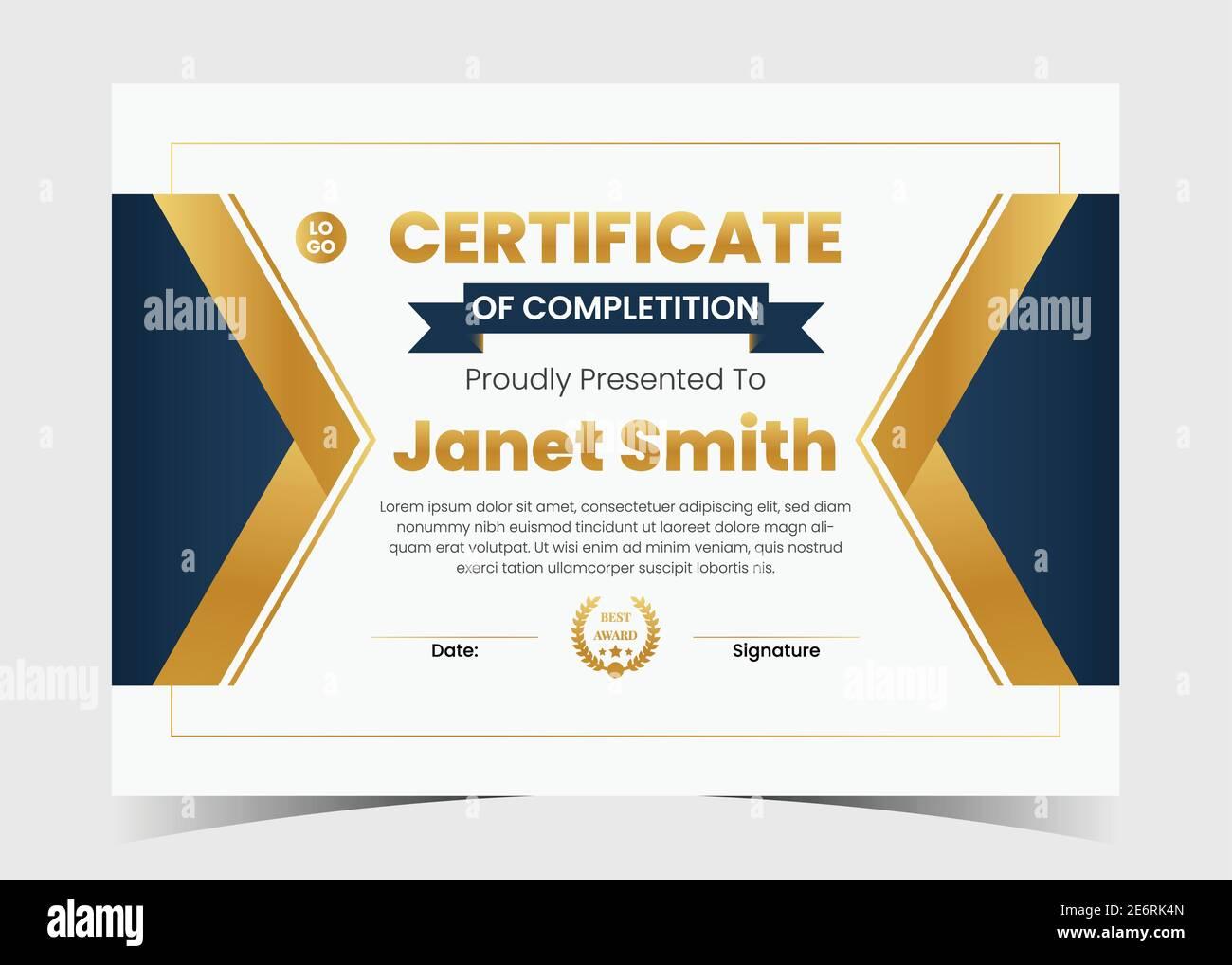 modern certificate template. certificate design, certificate Throughout Award Certificate Design Template