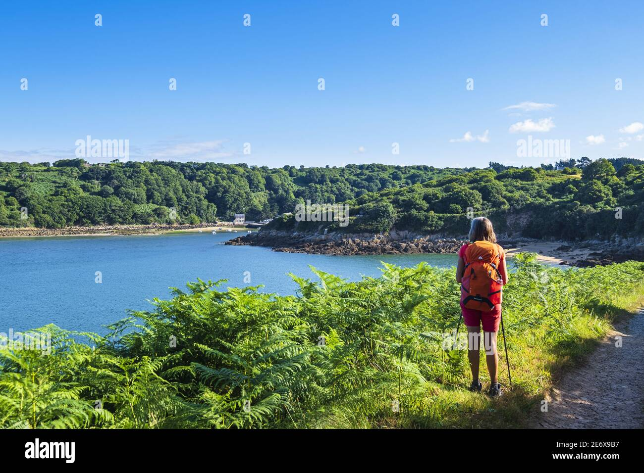 France, Cotes d'Armor, Tredrez-Locquemeau, hike along the GR 34 hiking trail or customs trail, the mouth of the Leguer river Stock Photo