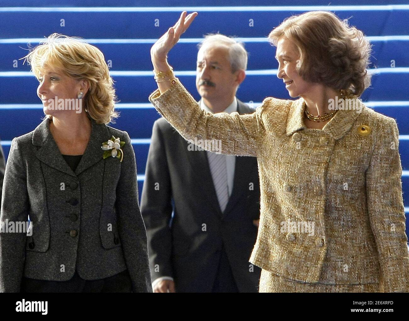 Spanish Queen Sofia (R) and Madrid's regional president Esperanza Aguirre arrive at the inauguration of a new Telefonica building in Madrid October 8, 2008. REUTERS/Juan Medina ( SPAIN ) Stock Photo