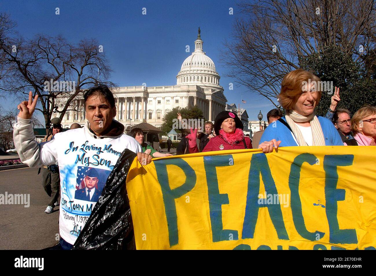Iraq war protester Cindy Sheehan and members of Gold Star Families for Peace gathers in front of the Capitol to commemorate the 3,000th U.S. soldier killed in Iraq January 3, 2007 in Washington DC. The number of U.S. military deaths in Iraq has reportedly reached 3004 since the 2003 invasion began. Photo by Olivier Douliery/ABACAPRESS.COM Stock Photo