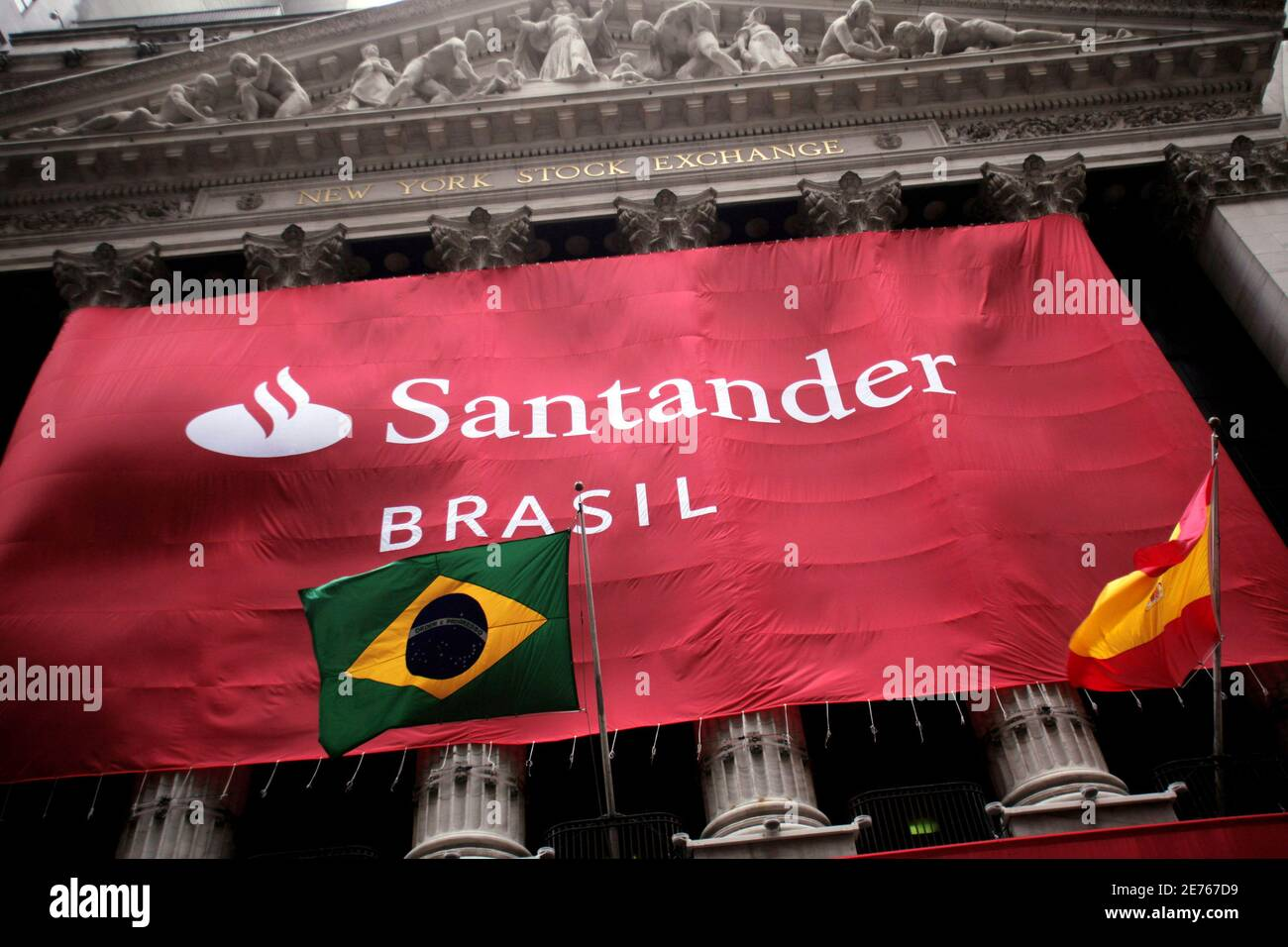A Banner With The Logo Of Banco Santander Brasil Decorates The Facade Of The New York Stock Exchange October 7 2009 As The Largest Initial Public Offering On A U S Exchange In