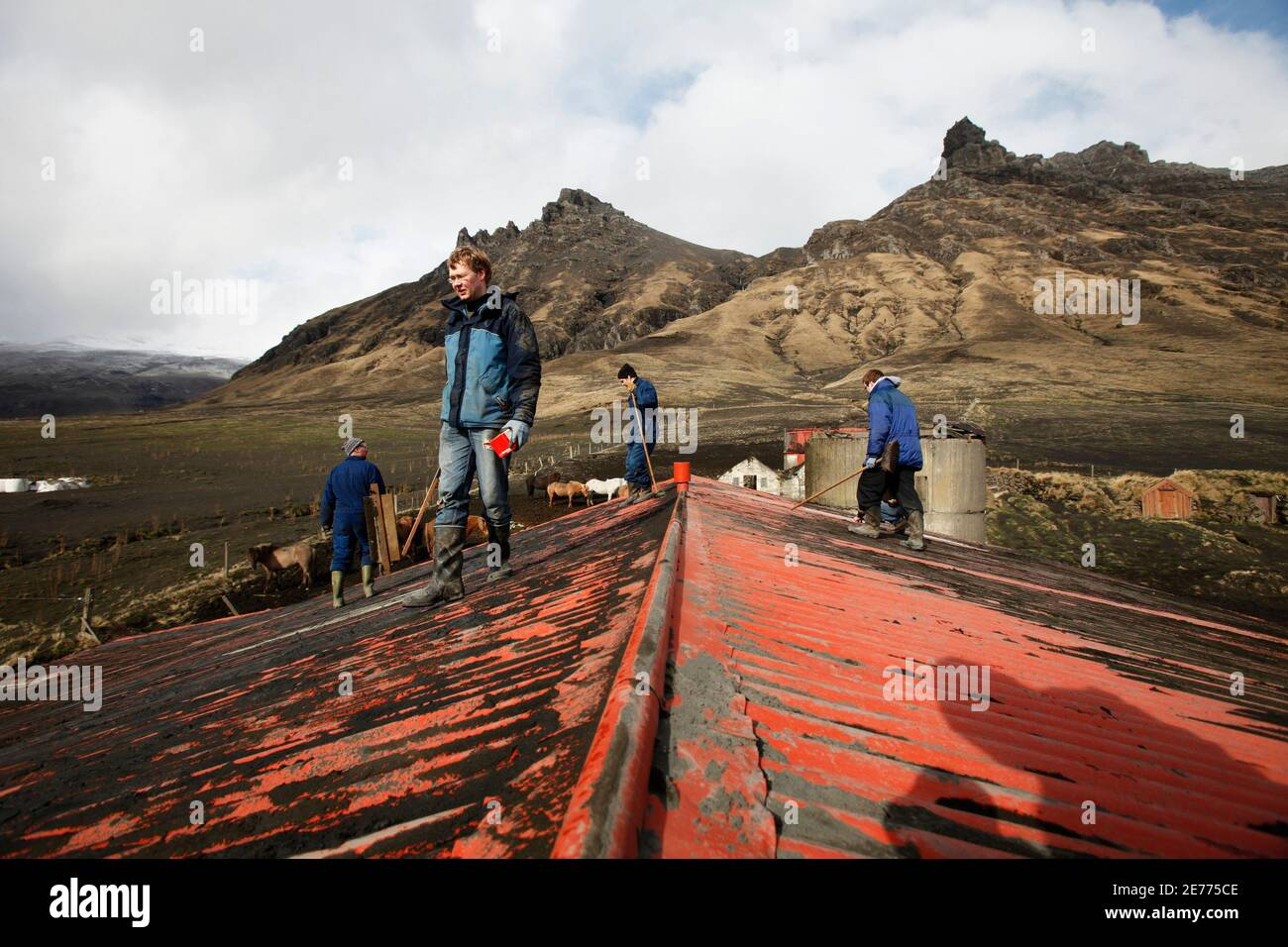 Farmers (from L to R) Bjarni Thorvaldsson, Benedikt Eythorsson, Hans Thorvaldsson and Thorgrimur Bjarnason walk off a roof after cleaning off volcanic ash that accumulated on a barn from an erupting volcano near Eyjafjallajokull April 18, 2010.  REUTERS/Lucas Jackson (ICELAND - Tags: DISASTER ENVIRONMENT) Stock Photo