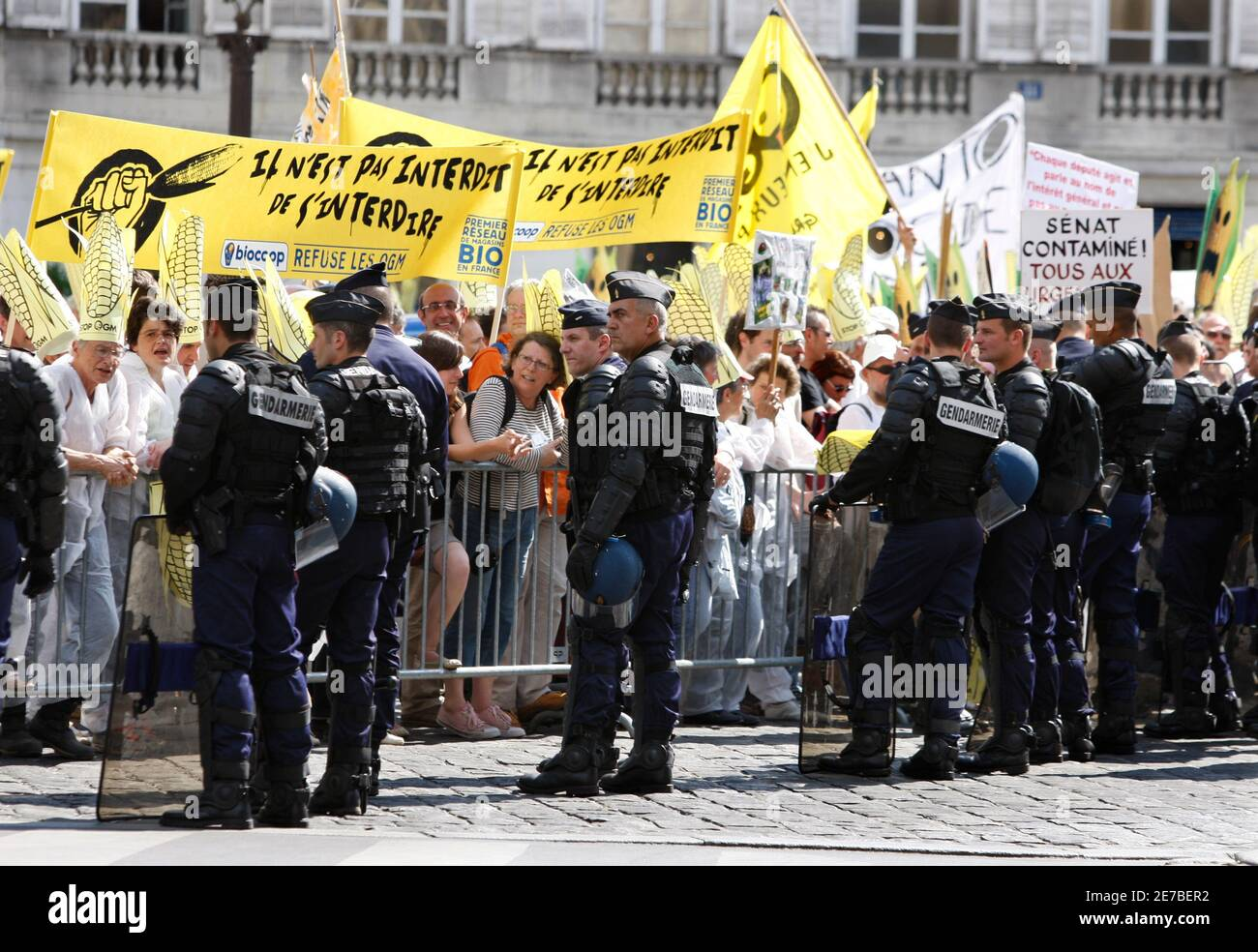 French anti-GMO activists face French gendarme during a demonstration in front the National Assembly in Paris May 13, 2008 ahead of the expected approval of a much disputed law which they say blurs the line between natural and genetically modified (GM) foods.    REUTERS/Charles Platiau  (FRANCE) Stock Photo
