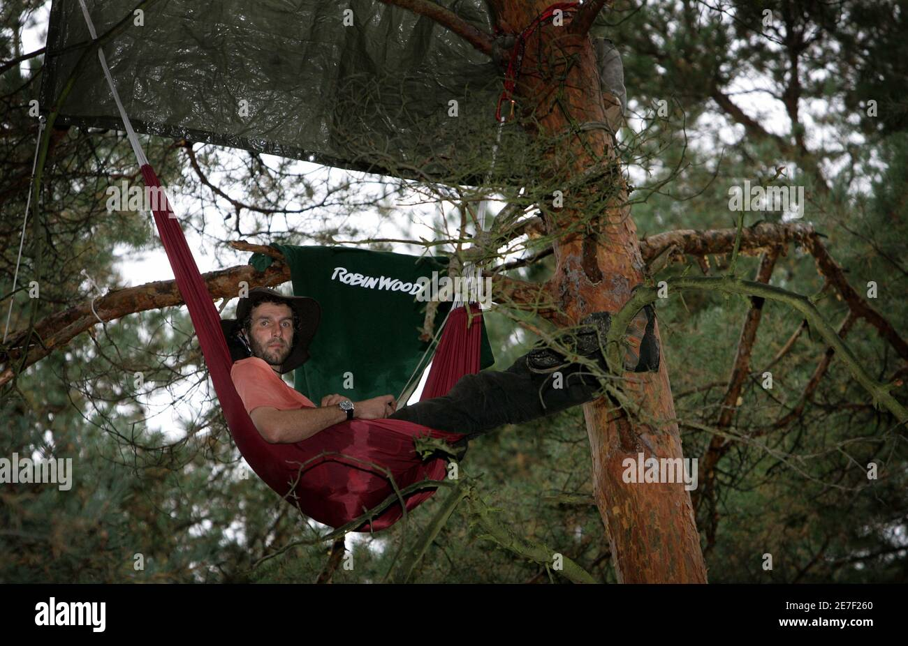 """An activist from Robin Wood, an environmental organisation, sits in a tree in a sealed-off forested area called """"Bannwald"""" before the start of construction works on a new runway near Frankfurt's Rhine-Main airport September 11, 2005. Police expect protesters and environmental activists as construction for the controversial new runway will start next week. REUTERS/Kai Pfaffenbach  KP//CCK Stock Photo"""