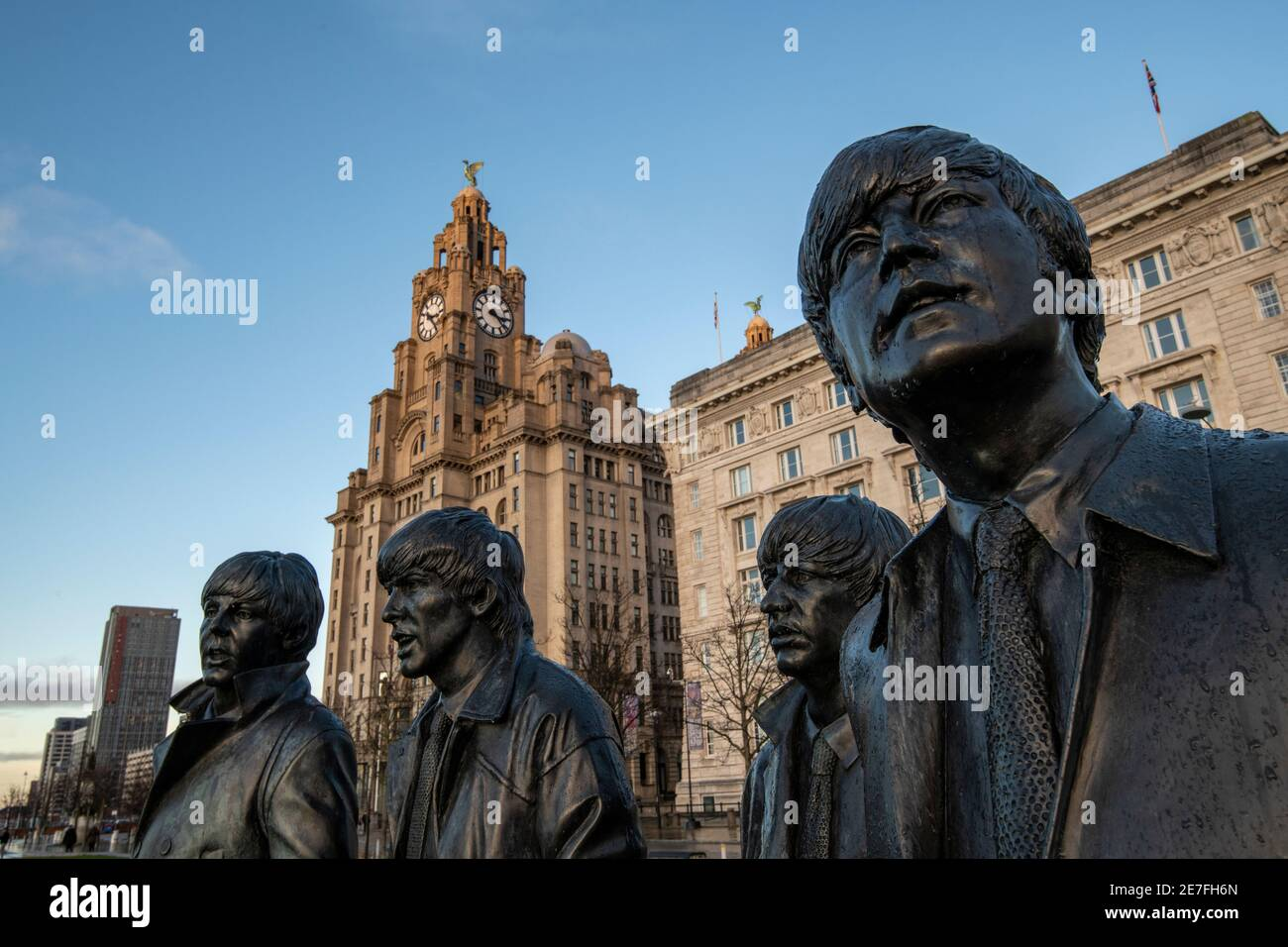 Beatles statue sculpture at Pier Head on Liverpools waterfront, Liverpool, Merseyside Stock Photo